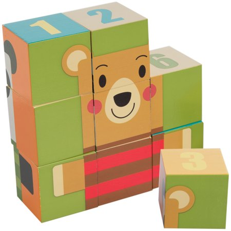 Demdaco 9 Piece Wooden Puzzle Blocks Set For Toddlers Baby Cube Toy Activity For Kids Educational