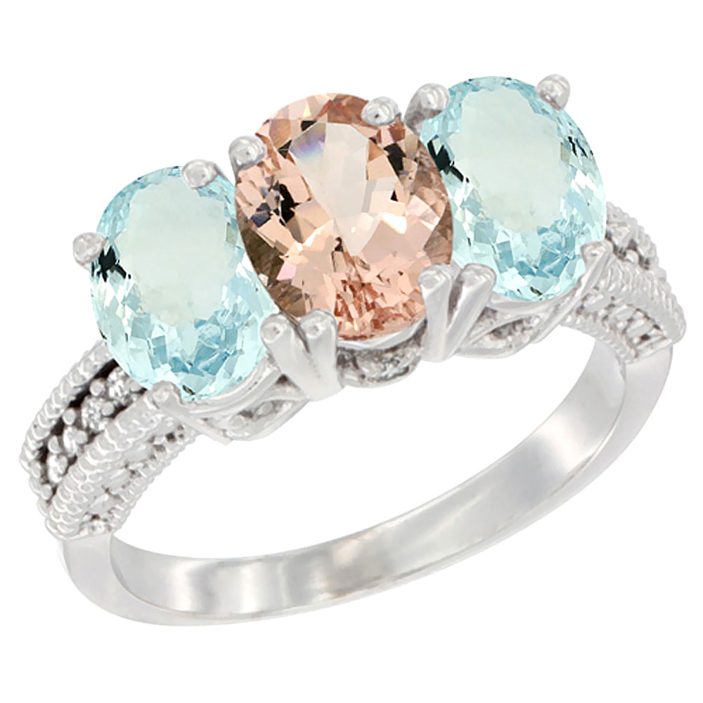 14K White Gold Natural Morganite & Aquamarine Sides Ring 3-Stone Oval 7x5 mm Diamond Accent, sizes 5 10 by WorldJewels