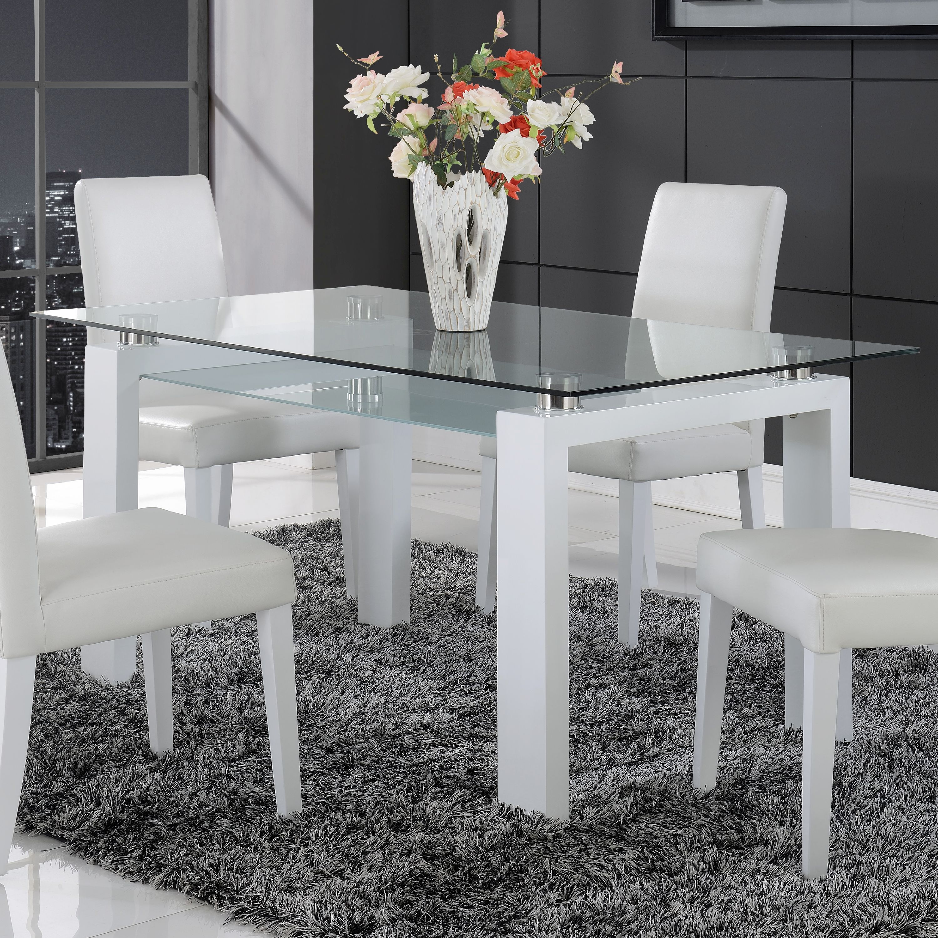 global furniture frosted glass dining table with white