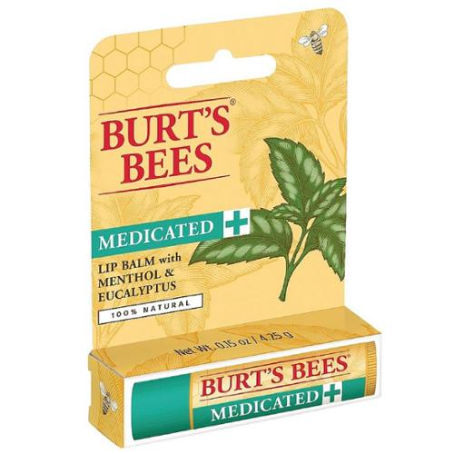 Burt's Bees Medicated Lip Balm, Menthol & Eucalyptus 0.15 oz (Pack of 2)
