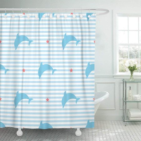 BPBOP White Kids Silhouettes Of Dolphins On Striped Pattern Red