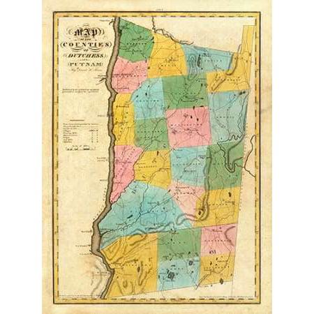 New York - Dutchess Putnam counties 1829 Poster Print by David (Putnam Prints)