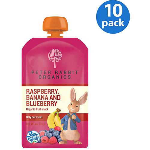 Peter Rabbit Organics Raspberry, Banana and Blueberry Fruit Snack, 4 oz, (Pack of 10)