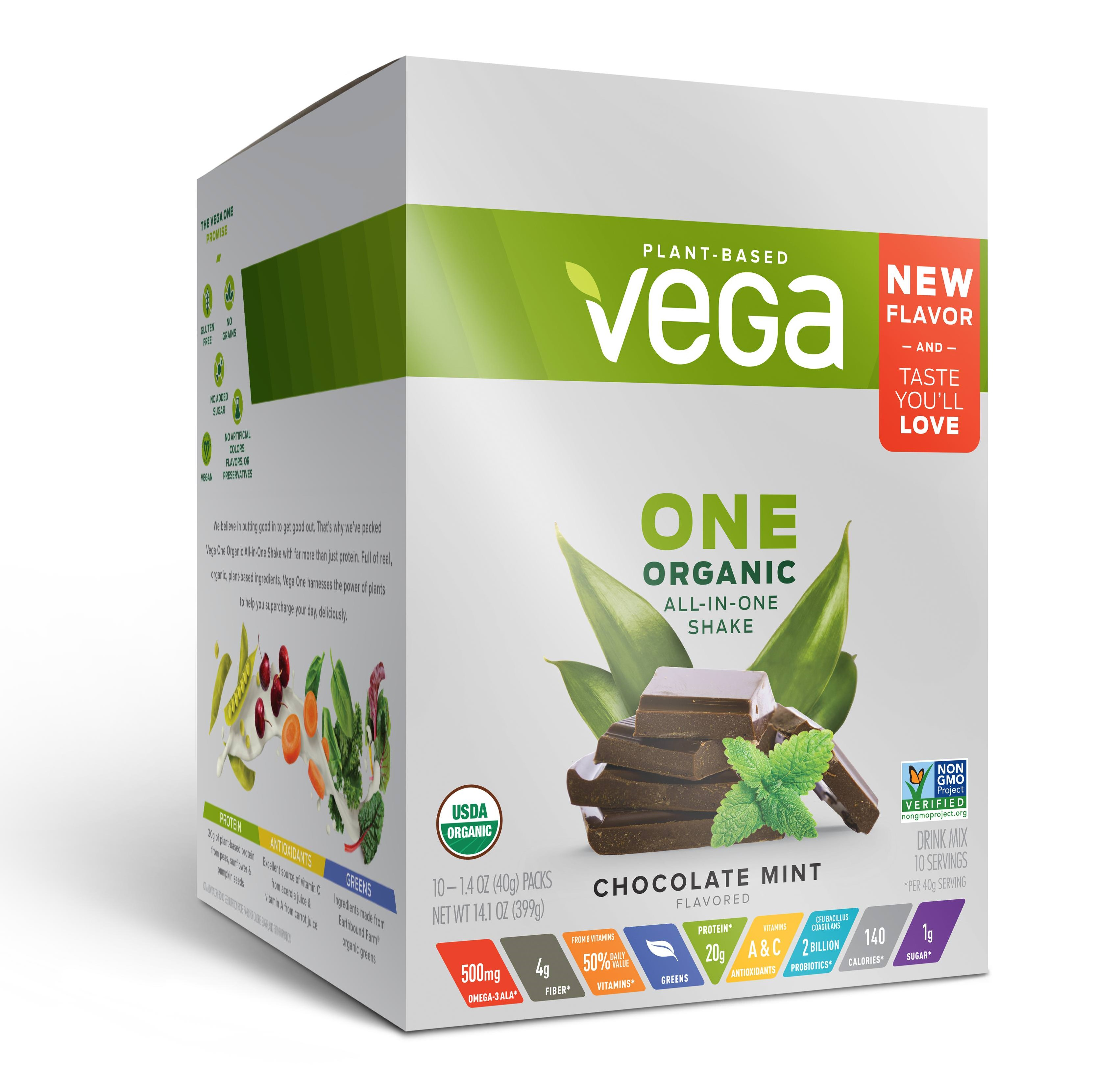 Vega One Organic Vegan Protein Powder, Chocolate Mint, 20g Protein, 1.4 Oz, 10 Ct