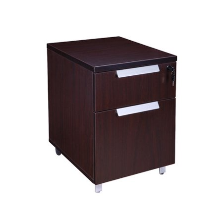 Boss Office Products Modular Laminate 2-Drawer Mobile Vertical Filing Cabinet