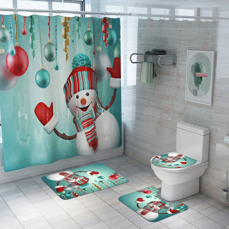 The Nightmare Before Christmas 4PC Bathroom Rugs Shower Curtain Toilet Lid Cover
