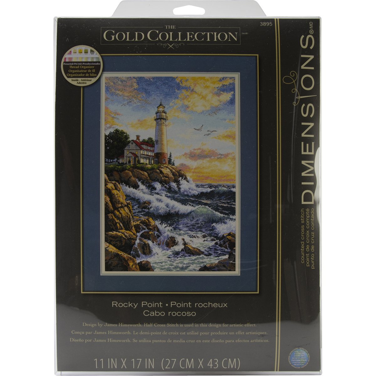 Counted Cross Stitch Pattern Needlework embroidery Lighthouse on Rocky Point