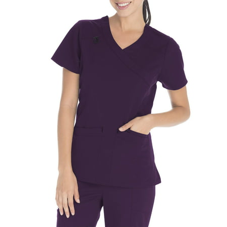Scrubstar Women's Premium Collection Stretch Mock Wrap Scrub Top