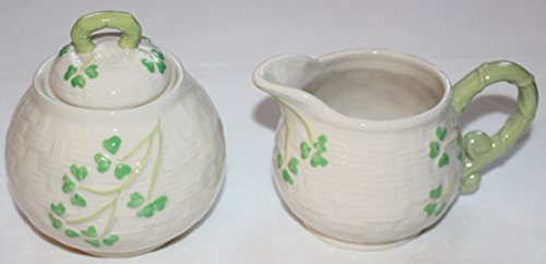 Celtic Classics Traditional Basket Weave Shamrocks Irish Design Sugar Bowl & Creamer Set by Celtic Classics