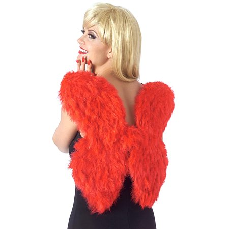 Devil And Angel Costumes (Adult Red Cupid Feather Feathered Angel Devil Wings Costume)