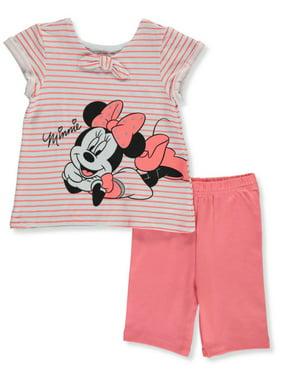 Disney Minnie Mouse Girls' Stripe 2-Piece Bike Shorts Set Outfit