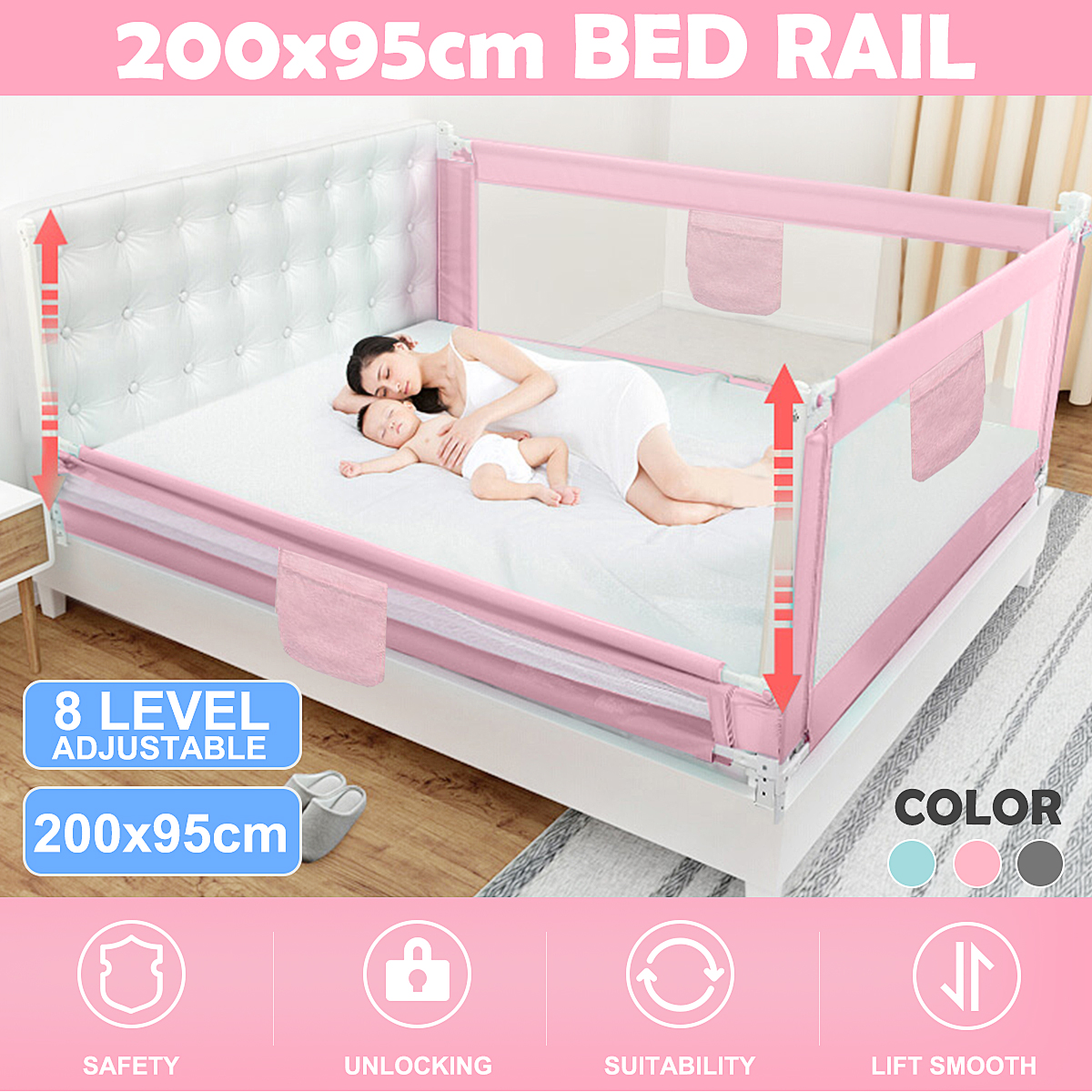 Extra Long Folding Double Bedrail Bed Rail Toddler Kids PINK BRAND NEW