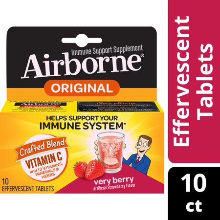 Airborne Immune Support Tablets with Vitamin C, Very Berry - 10 Effervescent Tablets