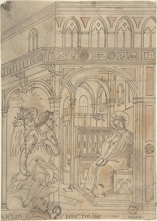 Annunciation with Beato Bernardo Tolomei di Siena Poster Print by Anonymous Italian 19th... by Public Domain Images