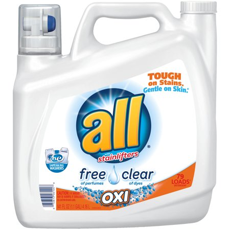 All Liquid Laundry Detergent With Oxi Stain Removers And Whiteners  Free Clear  141 Ounce  79 Loads