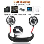 Neck Fan, Portable USB Rechargeable Fan Headphone Design Hand Free Personal Fan Wearable Cooler Fan with Dual Wind Head for Traveling Outdoor Office