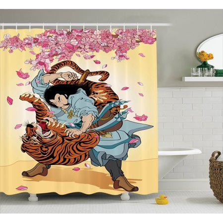 Japanese Shower Curtain Set Battle Of Brave Samurai And Tiger Turn Into Floral Sakura Cherry Blossoms Flow Cartoon Print Bathroom Decor Multi
