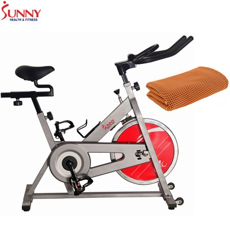 Sunny Health and Fitness Chain Drive Indoor Cycling Bike Silver with Workout Cooling Towel