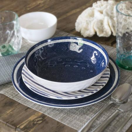 Better Homes And Gardens Linen 12 Piece Melamine Dinnerware Set Navy