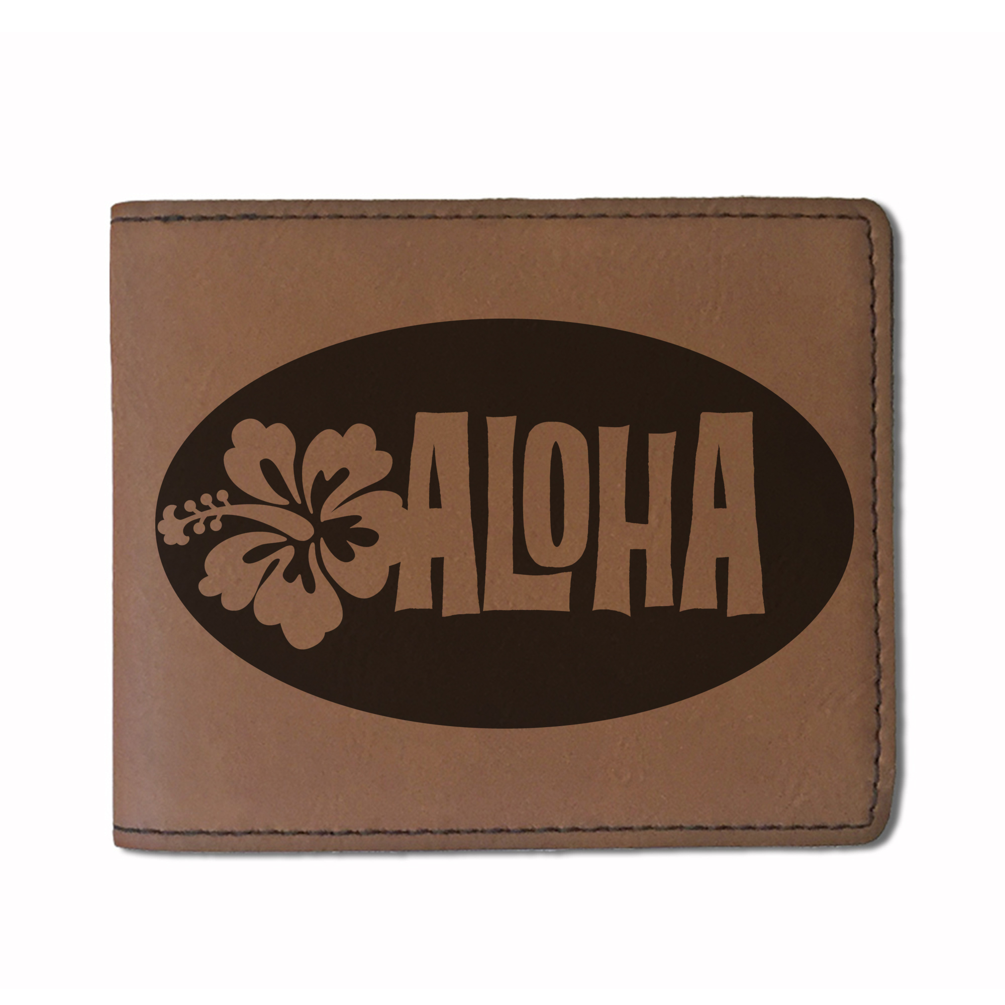 Faux Leather Wallet - Aloha - Personalized Engraving Included