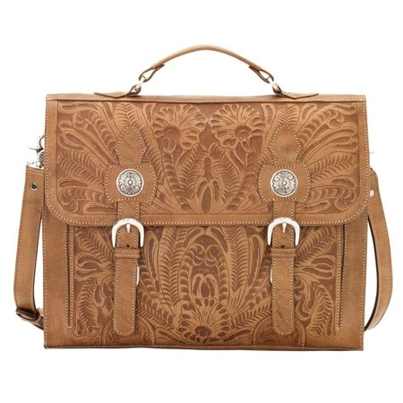 American West Stagecoach Collection Multi compartment laptop briefcase American West Leather Briefcase