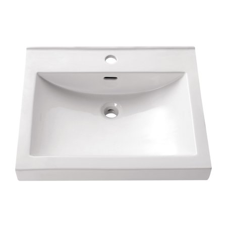 Avanity 21.7-in. Semi Recessed Rectangular Vitreous China Sink - (Vitreous China White Rectangular Vessel Bathroom Sink)