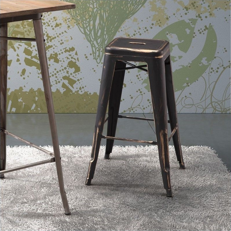 Zuo Marius Bar Chair in Antique Black Gold (Set of 2)