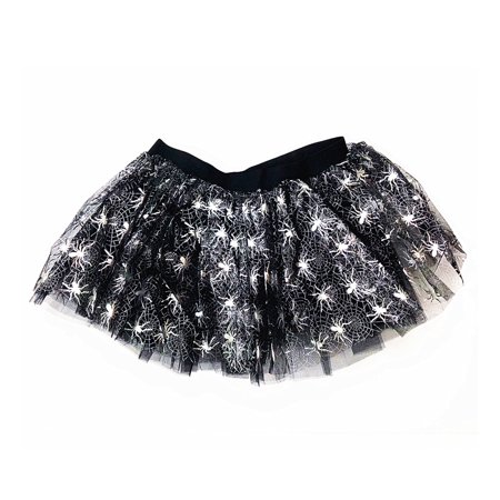 Mozlly Mozlly Black & White Stretchable Pull On Tutu for Women Decorated w/ Spiders One Size Fits Most Adult Ballet Costume Princess Fairy Halloween Outfit Comfortable Tutu Skirt w/ Garter for Lad