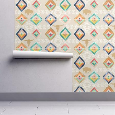 Wallpaper Roll Diamonds Southwest Buffalo Kilim Tribal Geometric 24in x 27ft