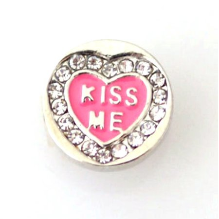 1 PC - 12MM Pink Heart Kiss Me Enamel Rhinestone Silver Charm for Candy Snap Jewelry KB6648 CC0368 - Pink And Silver Hershey Kisses