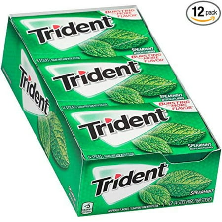 Spearmint Sugar Free Gum - 12 Packs (168 Pieces Total), Get close-up confidence with Trident Sugar Free gum, the easy way to freshen breath and help.., By