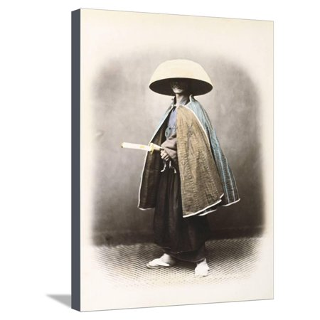A Japanese Samurai in Traditional Costume, C.1868 (Hand Tinted Albumen Print) Stretched Canvas Print Wall Art By Felice Beato (Japanese Samurai Costumes)