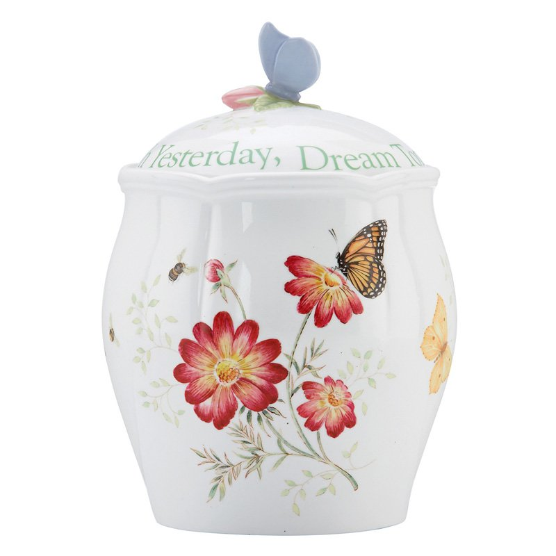 Click here to buy Lenox Butterfly Meadow Sentiment Cookie Jar by Lenox.