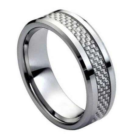 TK Rings 164TR-8mmx11.5 8 mm Gray Carbon Fiber Inlay Low Beveled Edge Tungsten Ring - Size 11.5 - image 1 of 1