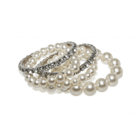 Lux Accessories Faux Faux Pearl White Crystal Rhinestone Stretch Bracelets (4 PC)](Fake Pearl Bracelets In Bulk)