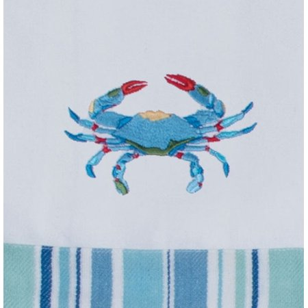 Kay Dee Sea Splash Blue Crab Embroidered Kitchen Tea Towel (Crab Dish)