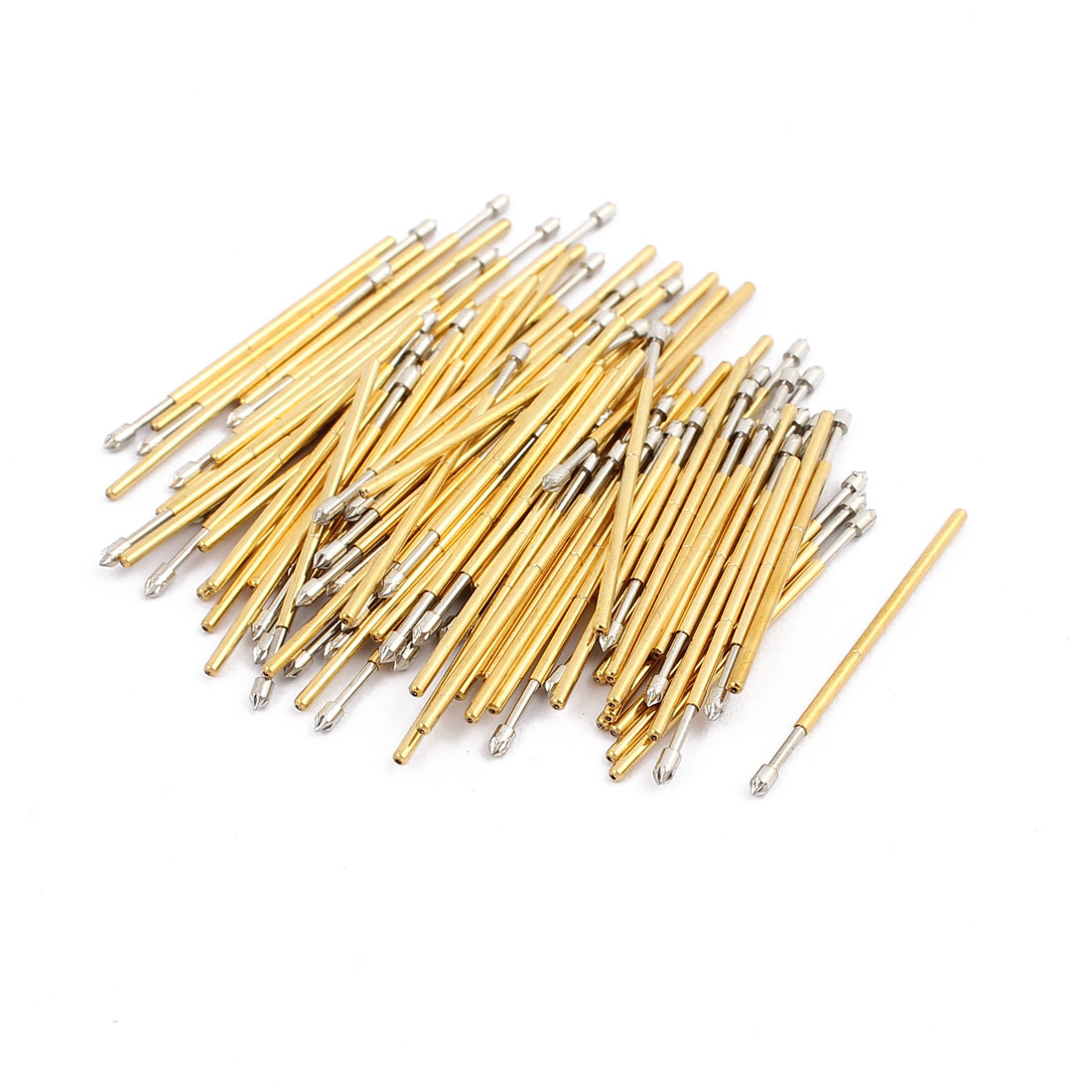 100pcs PL75-LM2 1.0mm Dia 27.8mm Length Metal Spring Pressure Test Probe Needle