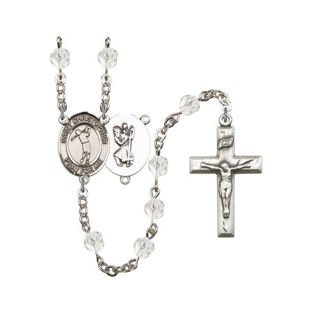 St. Christopher/Golf Silver-Plated Rosary 6mm April Crystal Fire Polished Beads Crucifix Size 1 3/8 x 3/4 medal charm