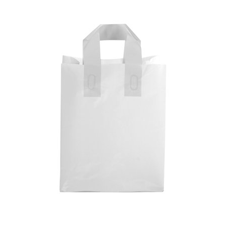 "Medium Clear Frosted Plastic Shopping Bags - 8"" x 5"" x 10 ..."