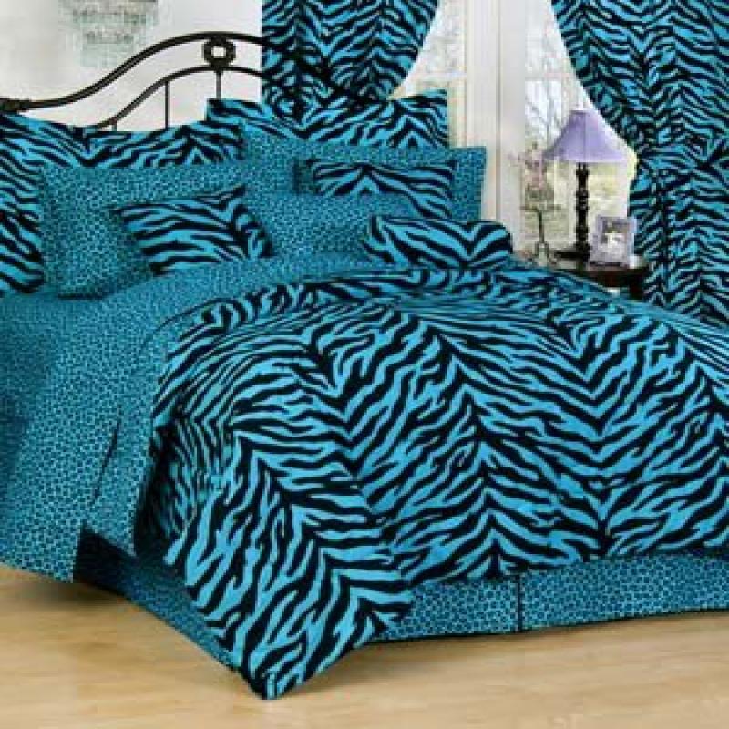 Kimlor Karin Maki Zebra Complete Bedding Set, Twin, Blue