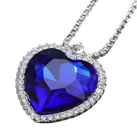 Crystal Ocean Heart Blue Girlfriend Wife Mom Valentine Necklace Pendant -