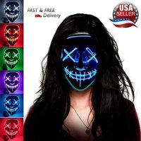 LED Glow Mask EL Wire Light Up The Purge Movie Costume Party