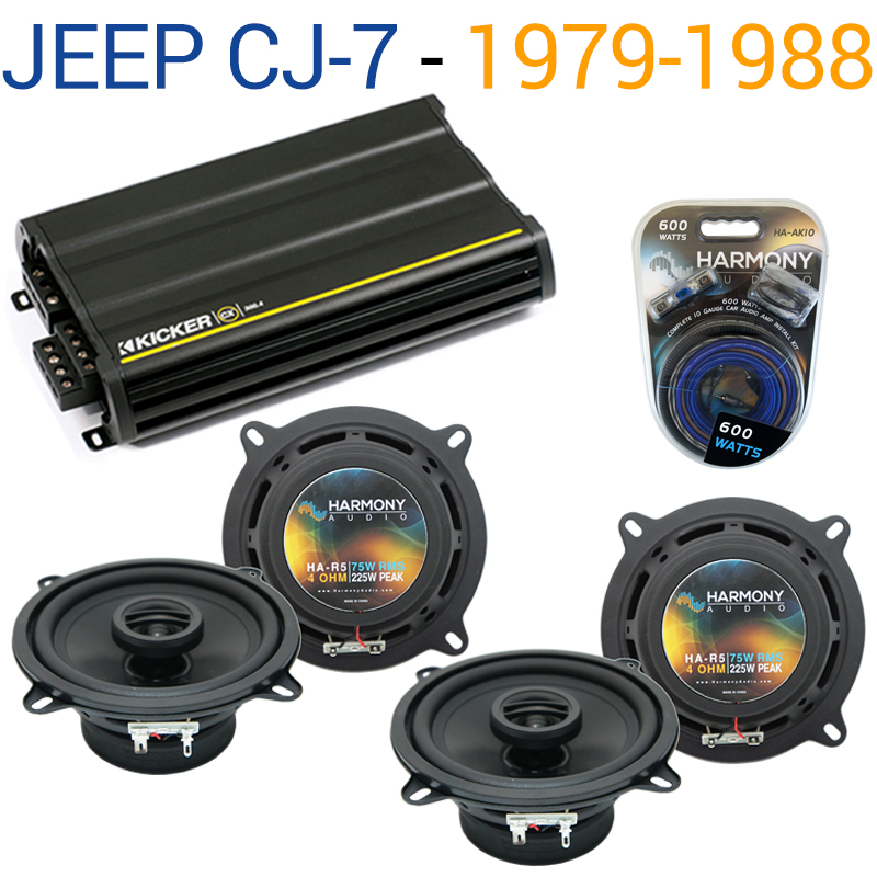 Jeep CJ-7 1979-1988 Factory Speaker Replacement Harmony R5 & CX300.4 Amplifier - Factory Certified Refurbished