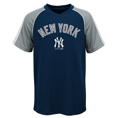 (MLB New York YANKEES TEE Short Sleeve Boys Fashion Jersey Tee 100% Polyester Pin Dot Mesh Jersey Team Tee 4-18)