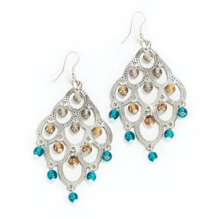 Handmade expressions silver and teal chandelier earrings india handmade expressions silver and teal chandelier earrings india mozeypictures Images