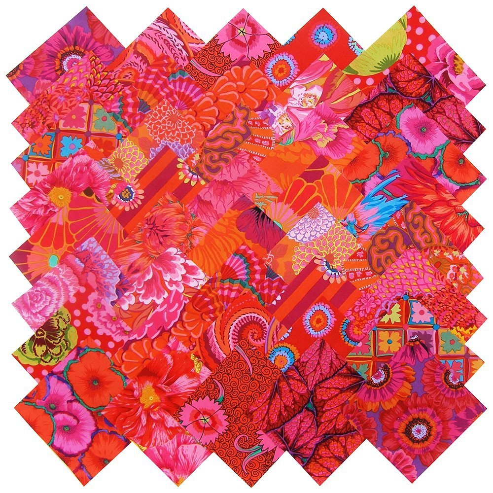 "Kaffe Fassett Collective Rich Reds Magenta Pink Precut 5"" Fabric Quilting Cotton Squares by Free Spirit"