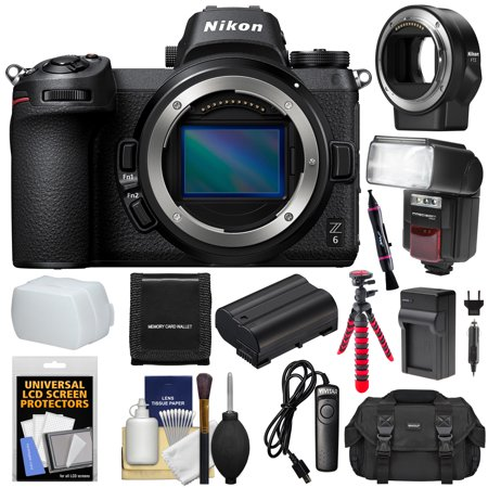 Nikon Z6 Mirrorless Digital Camera Body with Mount Adapter FTZ + Case + Flash + Battery + Charger + Tripod + Kit