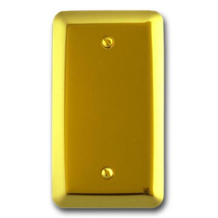 Amerelle 155B Decorative Steel Round Corner Blank Wallplate, Bright Brass Bright Brass Plated Steel Floor