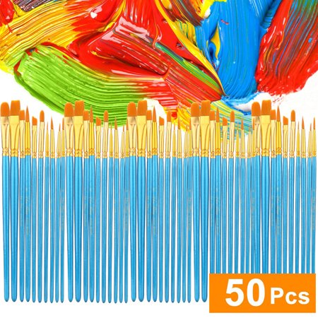 Acrylic Paint Brush Set 5 Packs/50 Pcs Nylon Hair Brushes For All Purpose Oil Wa
