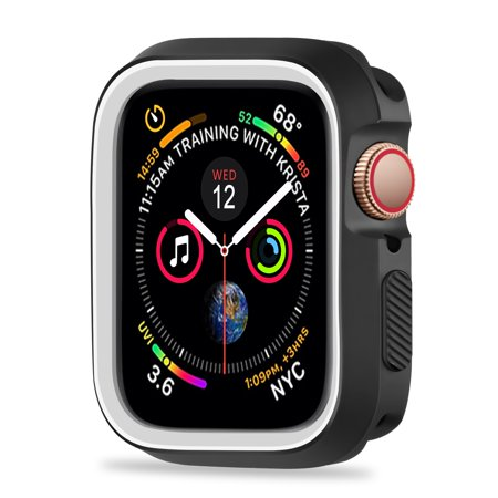 For Apple Watch 4 Case Protector 44mm 2018, Shock Proof Protective Rugged Case Scratch Resistant Bumper Protector Cover Replacement for Apple Watch Series 4 (44mm,Black White)